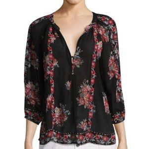 JOIE 100% SILK Sheer Black Floral Print Blouse